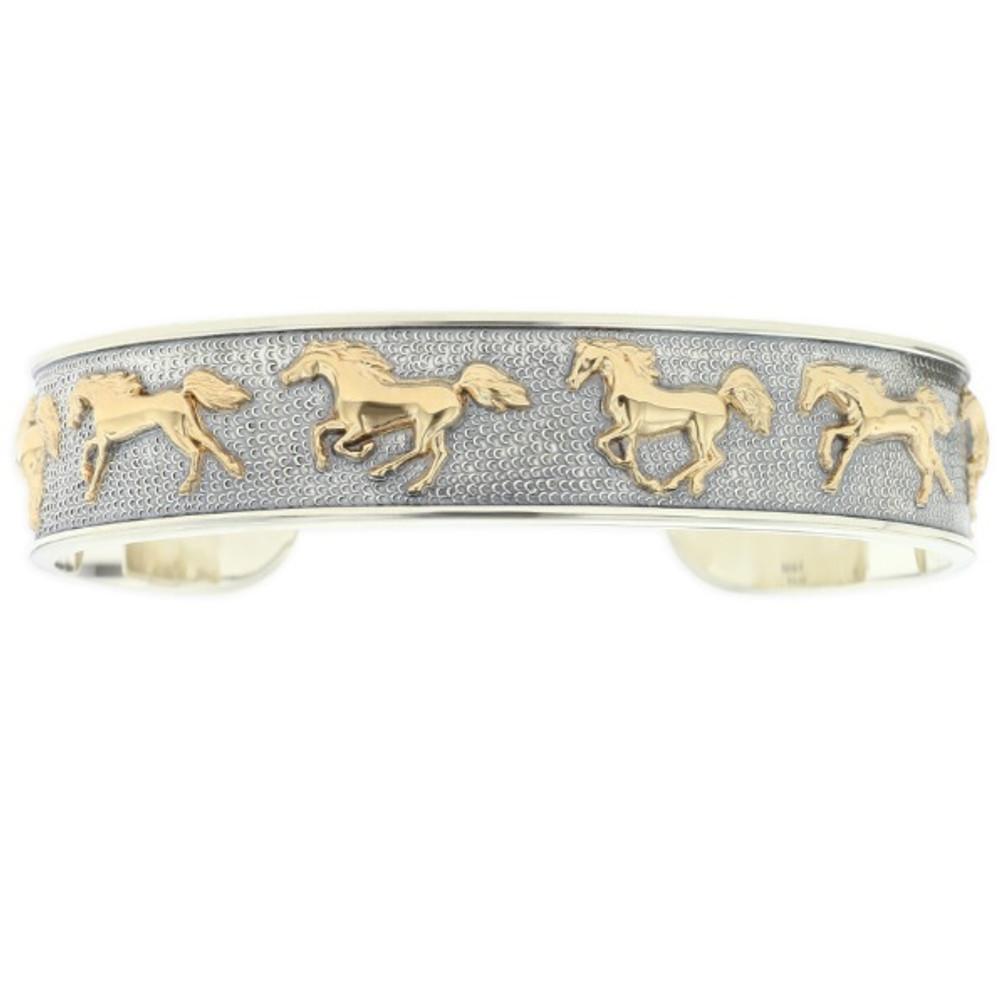 Running Horse 14K Gold Sterling Silver Cuff Bracelet | Kabana Jewelry | Kgsbr110