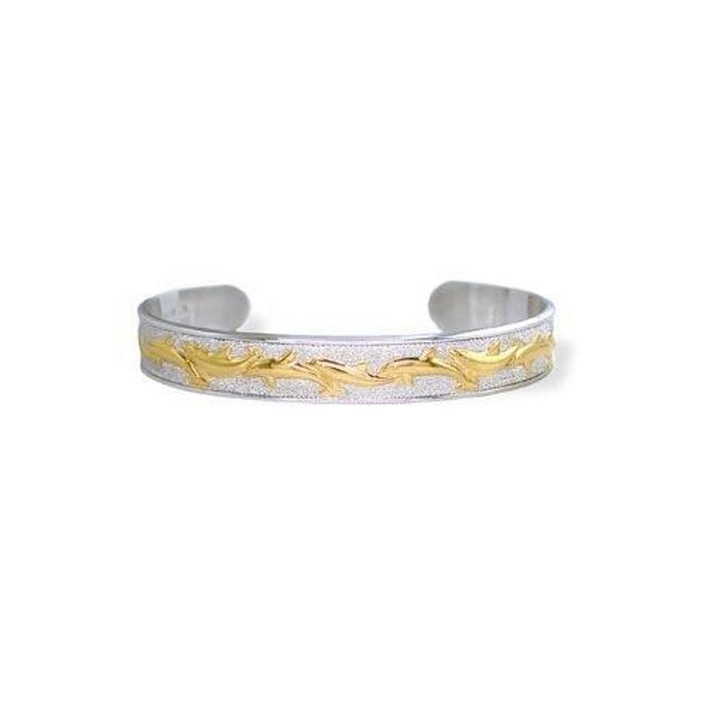 Dolphin 14K Gold & Silver Cuff Bracelet   Kabana Jewelry   Kgsbr119