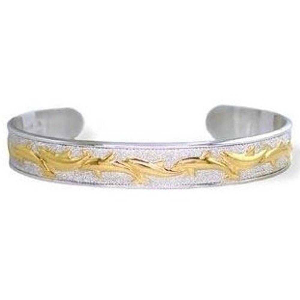 Dolphin 14K Gold & Silver Cuff Bracelet   Kabana Jewelry   Kgsbr119 -2