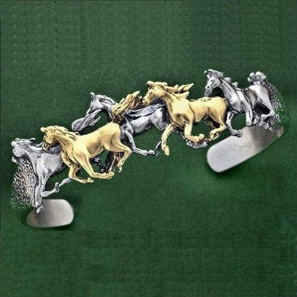Arabian Horses 14K Gold Sterling Silver Cuff Bracelet | Kabana Jewelry | Kgsbr156
