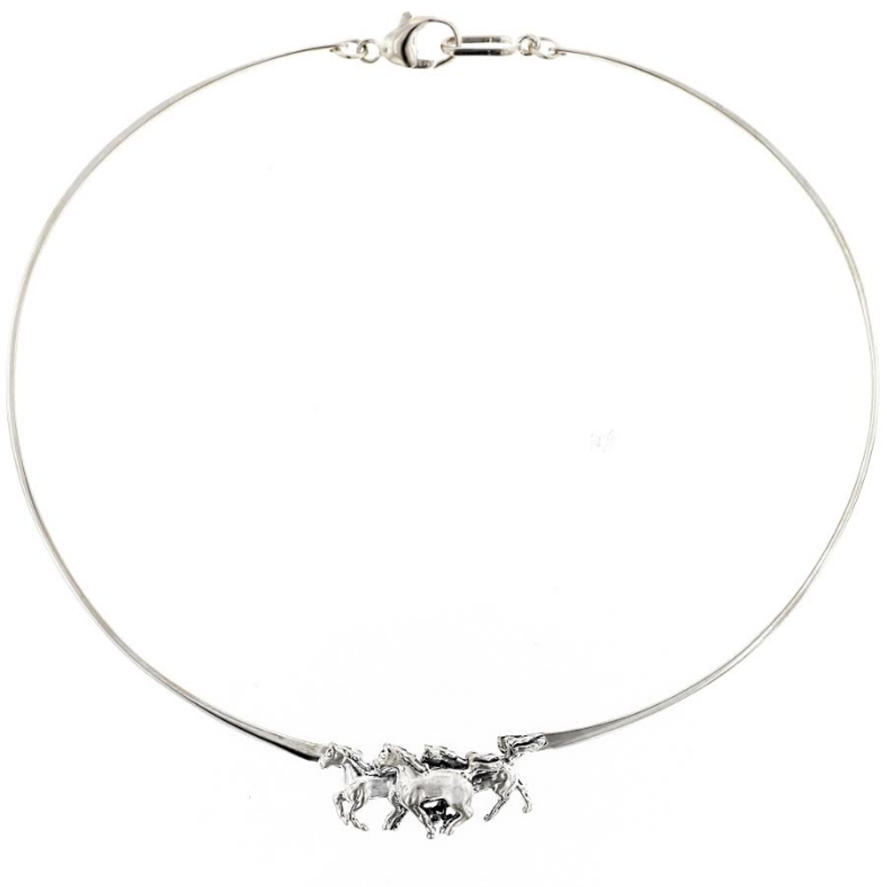 Three Horses Sterling Silver Collar Necklace | Kabana Jewelry | knk294
