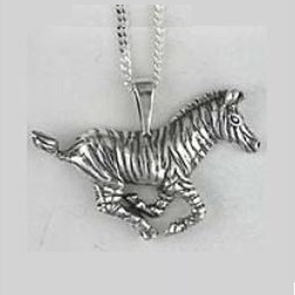 Zebra Pendant Sterling Silver Necklace | Kabana Jewelry | KP225 -2