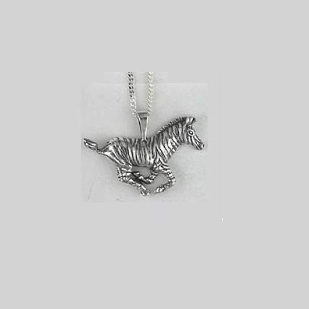 Zebra Pendant Sterling Silver Necklace | Kabana Jewelry | KP225