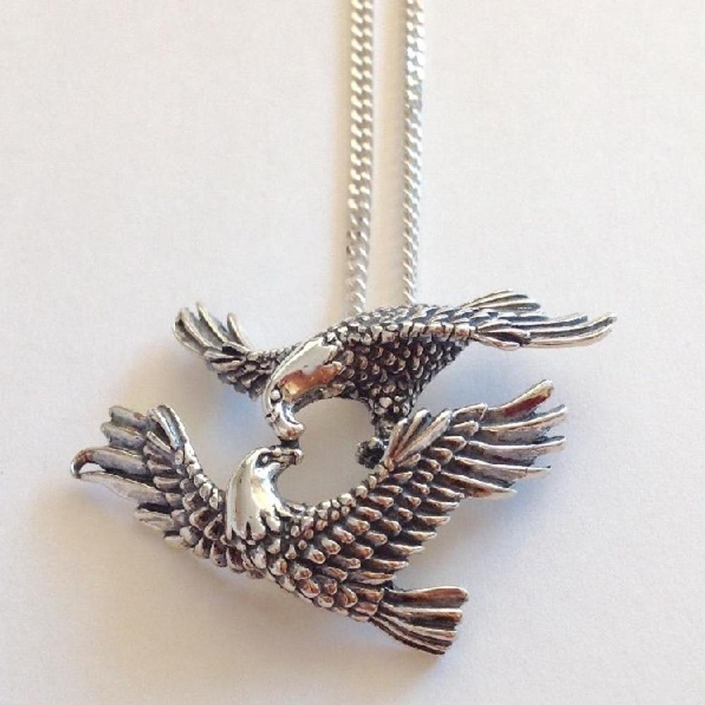 Mating Eagles Sterling Silver Pendant Necklace | Kabana Jewelry | Kp398