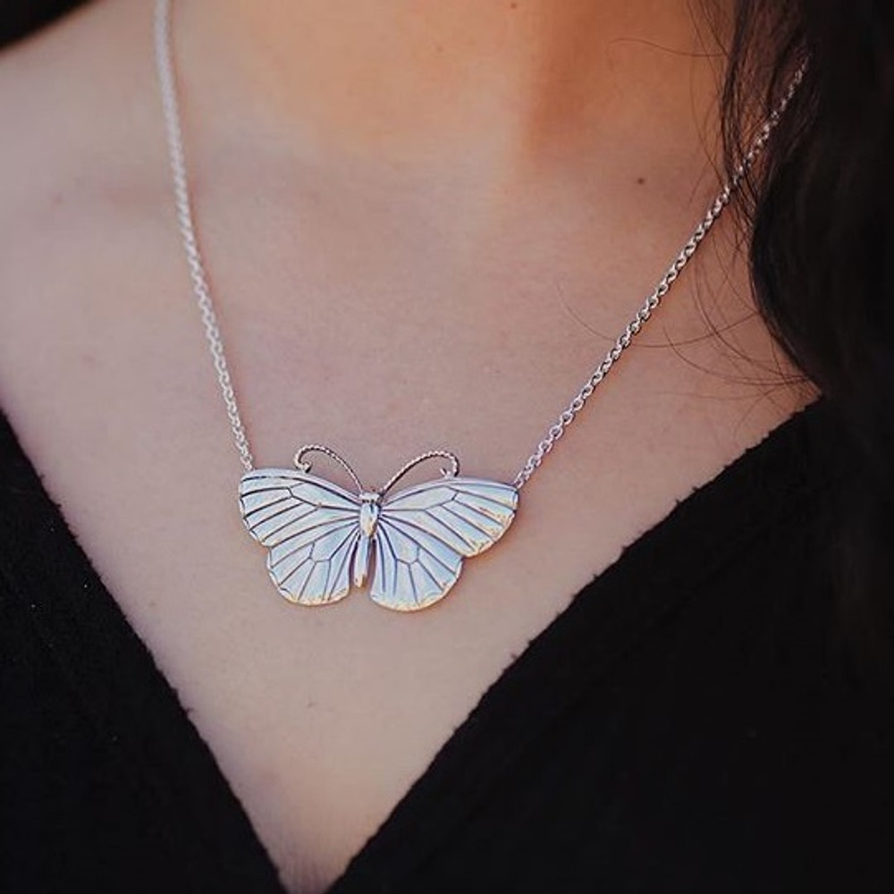 Butterfly Pendant Sterling Silver Necklace   Kabana Jewelry   KP504
