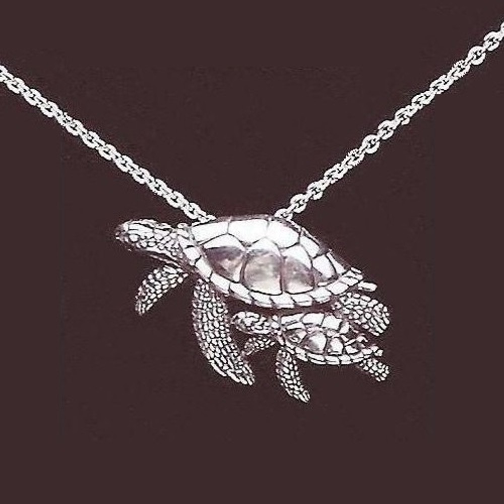 Turtle Mother and Baby Sterling Silver Necklace | Kabana Jewelry | KP566