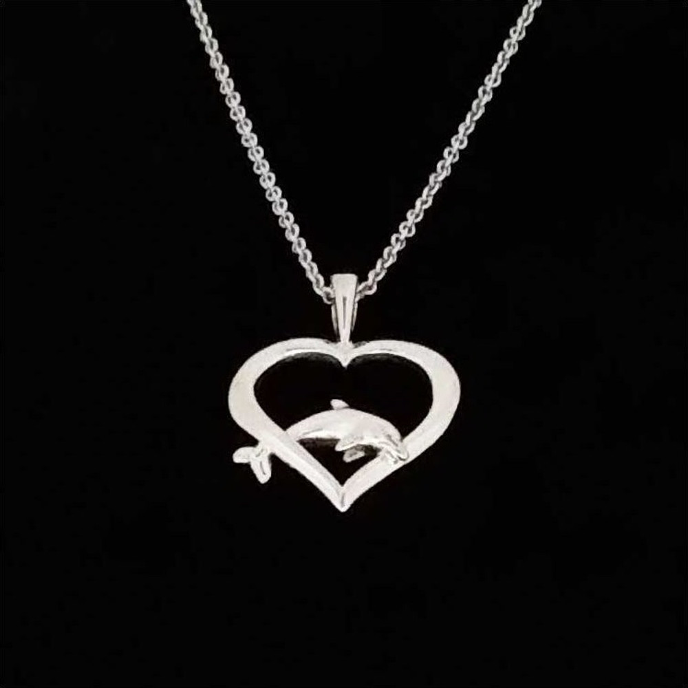 Dolphin Heart Pendant Sterling Silver Necklace | Kabana Jewelry | Kp646