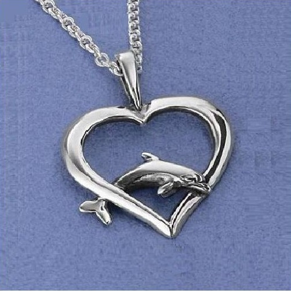 Dolphin Heart Pendant Sterling Silver Necklace | Kabana Jewelry | Kp646 -2