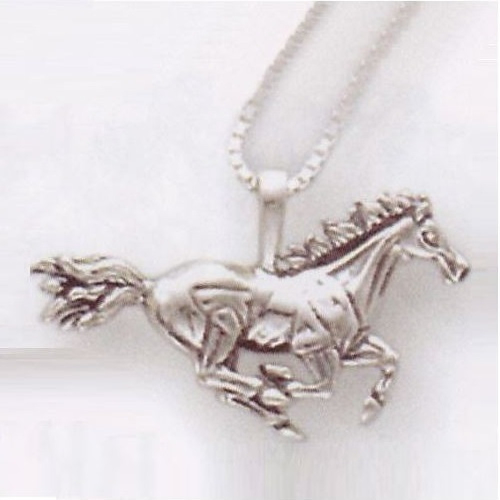 Galloping Horse Pendant Sterling Silver Necklace | Kabana Jewelry | Kp711