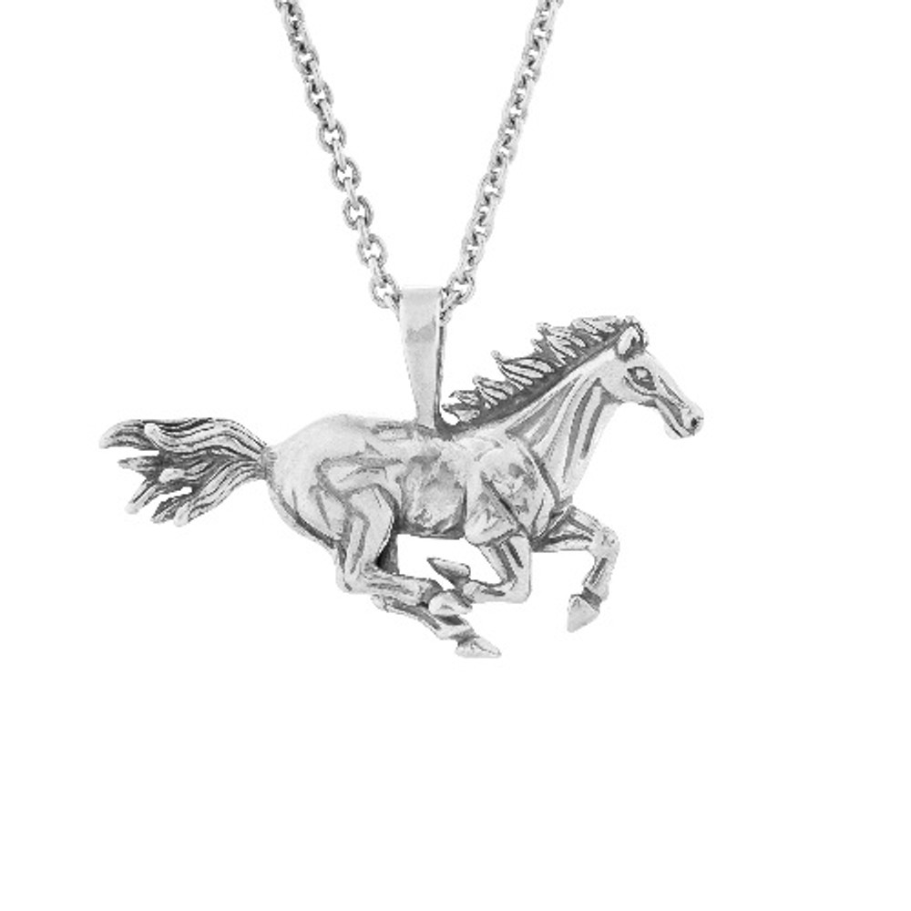 Galloping Horse Pendant Sterling Silver Necklace | Kabana Jewelry | Kp711 -2