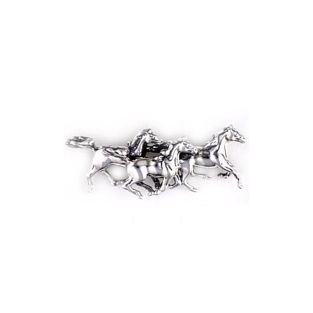Running Horses Sterling Silver Pin | Kabana Jewelry | Kpn404