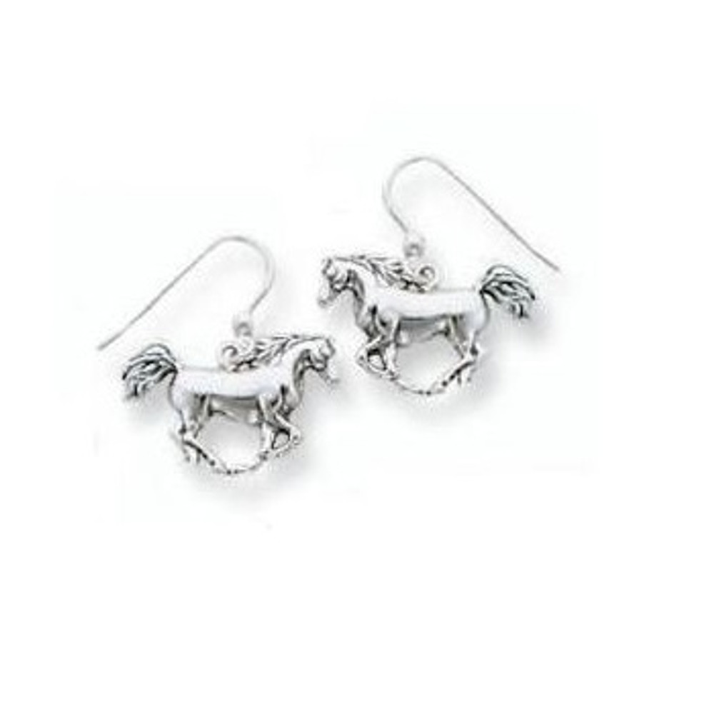 Galloping Horse Sterling Silver Wire Earrings | Kabana Jewelry | kse109