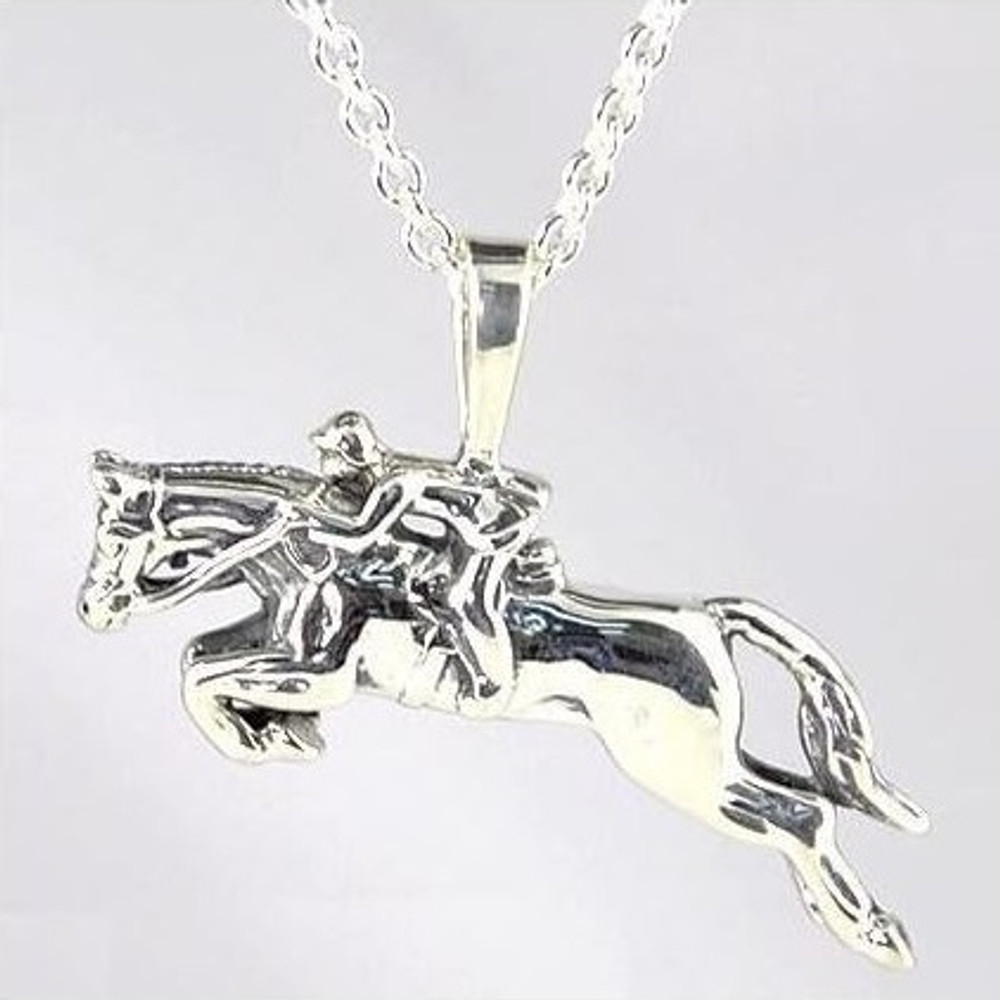 Jumping Horse Sterling Silver Pendant Necklace | Kabana Jewelry | Ksp058-2