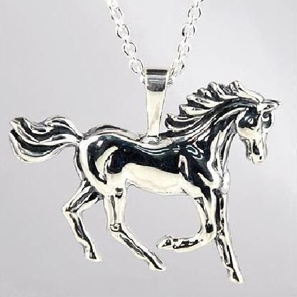 Prancing Horse Sterling Silver Pendant Necklace | Kabana Jewelry | Ksp061