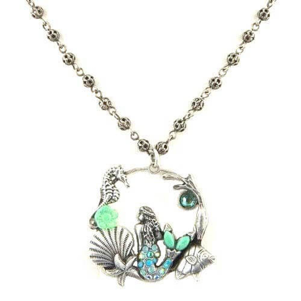 "Mermaid and Sea Life""Il Mare"" Hoop Necklace | La Contessa Jewelry | LCNK8763TQ"