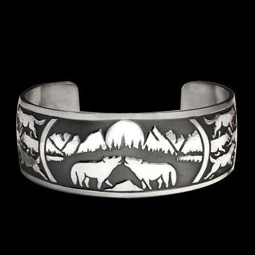 Wolf Pack Sterling Silver Bracelet |  Metal Arts Group Jewelry | MAG10202-S