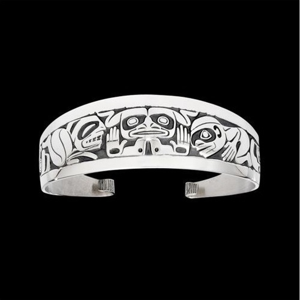 Emerging Mankind Tribal Cuff Bracelet Silver |  Metal Arts Group Jewelry | MAG11447-S
