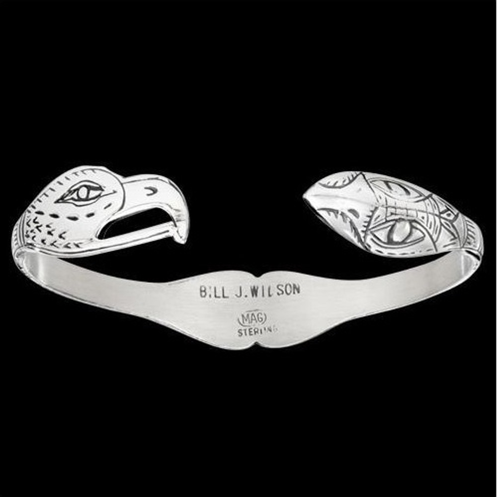 Eagle-Raven Lovebirds Silver Tribal Cuff Bracelet |  Metal Arts Group Jewelry | MAG12823-S