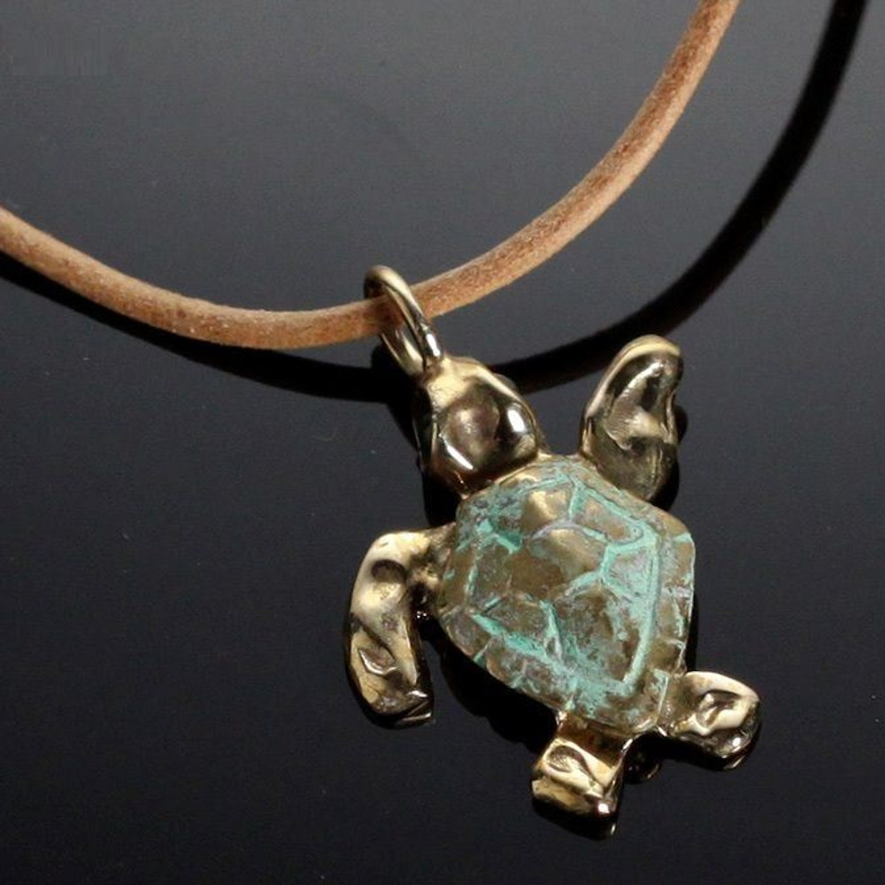 Baby Loggerhead Sea Turtle Bronze Necklace | Anisa Stewart Jewelry | ASJbrs1014