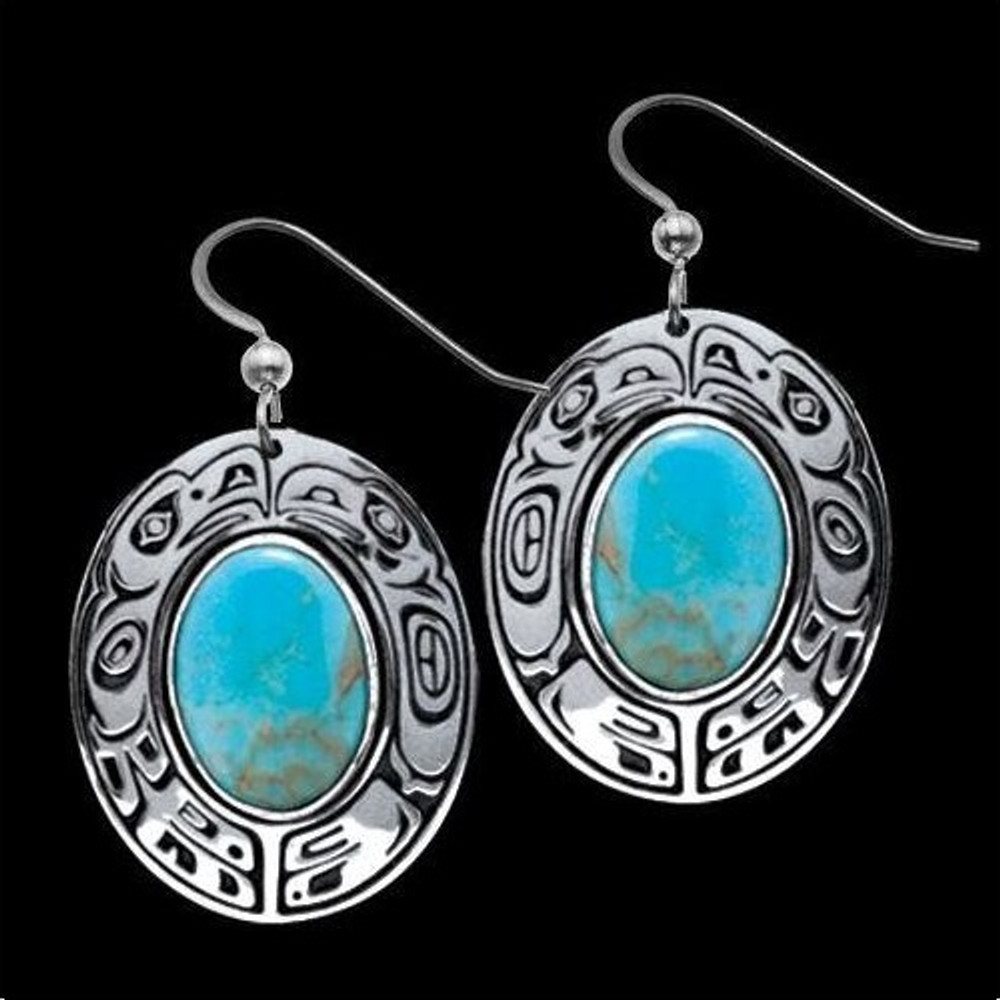 Raven Eagle Turquoise Tribal Earrings |  Metal Arts Group Jewelry | MAG21399TQ-S