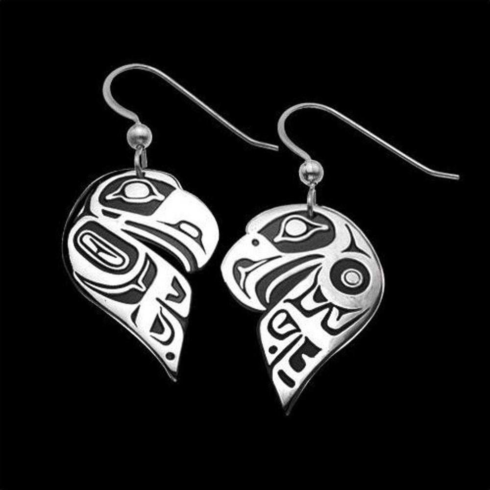 Eagle Raven Split Sterling Silver Earrings    Metal Arts Group Jewelry   MAG22080-S