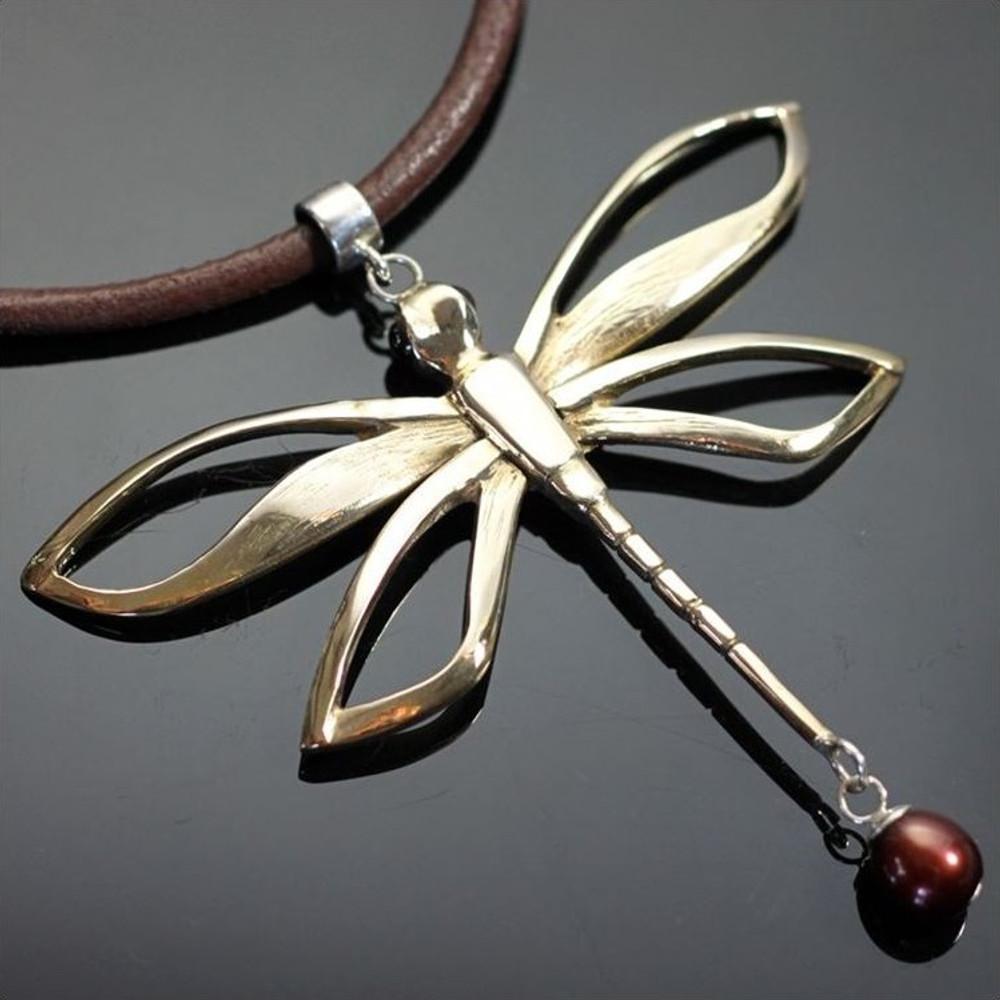 Dragonfly Bronze Pendant Necklace | Anisa Stewart Jewelry | brw1021