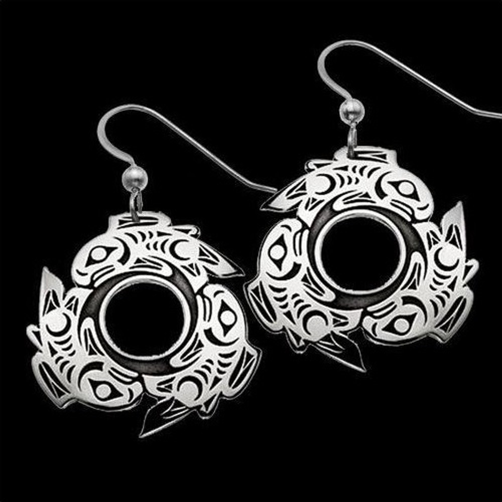 Salmon Circle Tribal Sterling Silver Earrings |  Metal Arts Group Jewelry | MAG25107