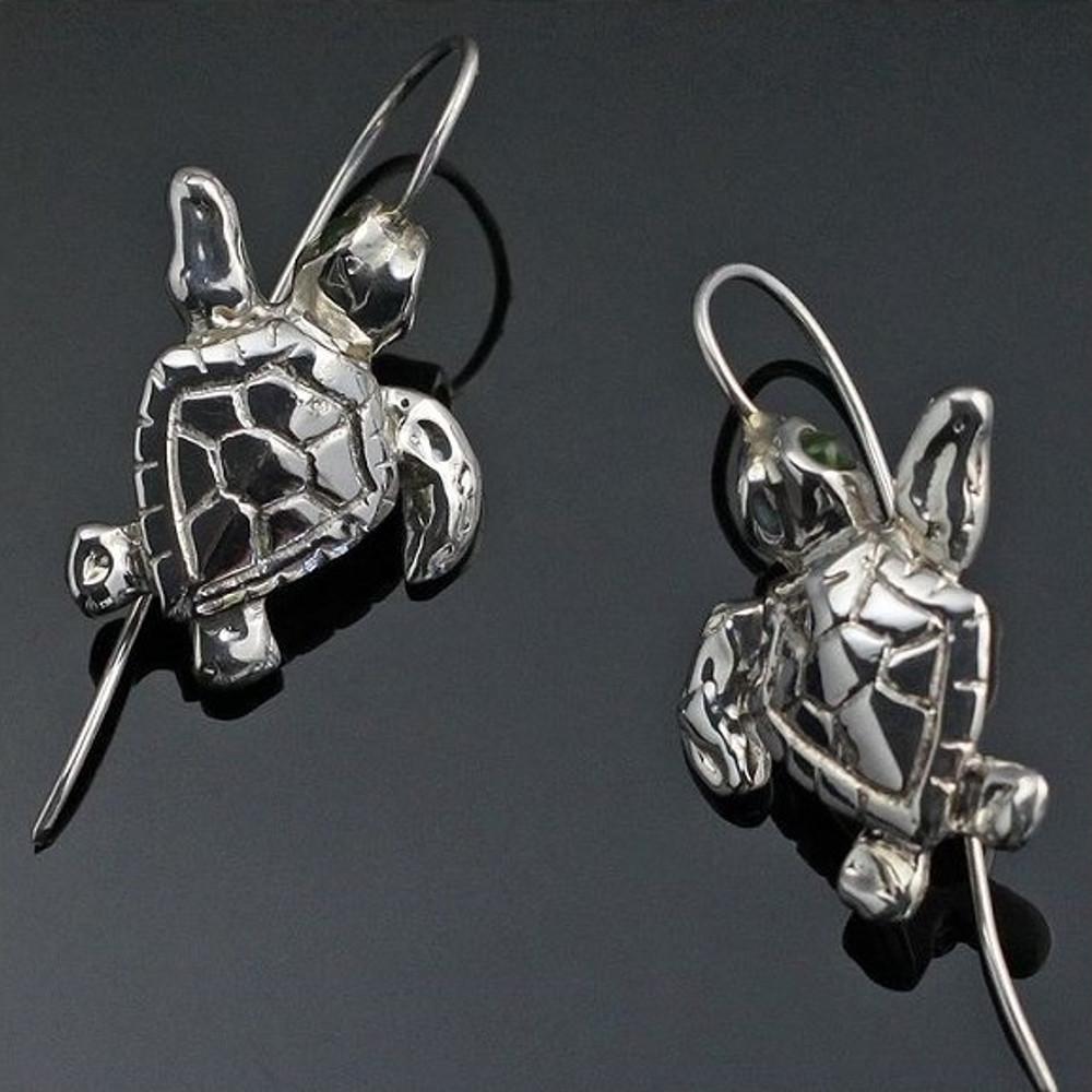 Baby Loggerhead Turtle Silver Wire Earrings | Anisa Stewart Jewelry | ASJe1013