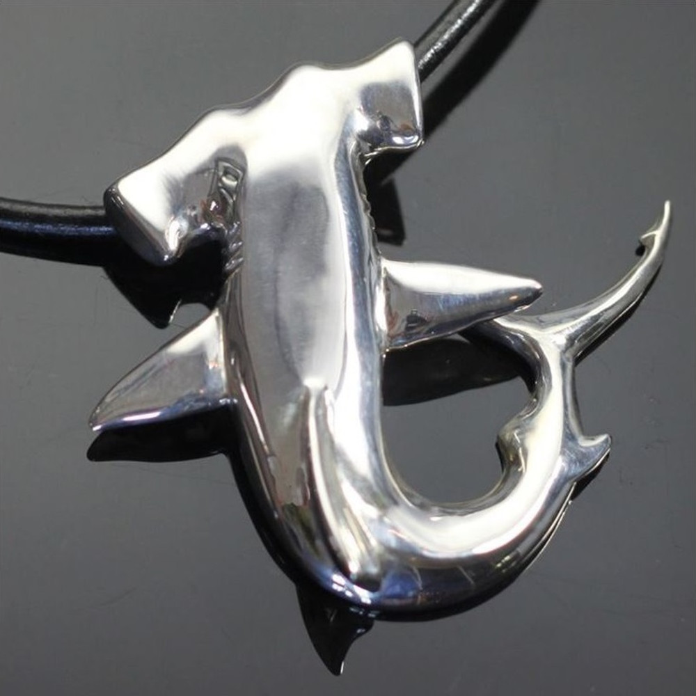 Hammerhead Shark Silver Pendant Necklace | Anisa Stewart Jewelry | ASJF1008