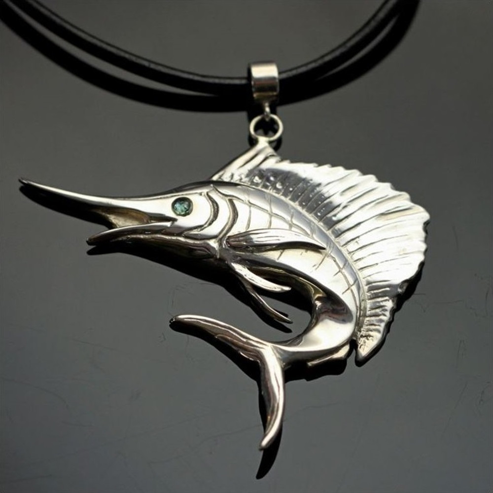 Sailfish Sterling Silver Pendant Necklace | Anisa Stewart Jewelry | ASJf1009