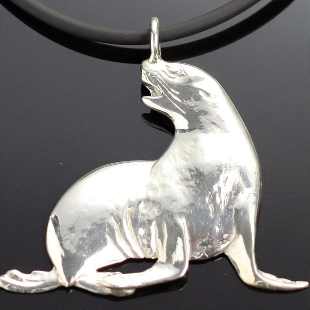 Sea Lion Sterling Silver Pendant Necklace   Anisa Stewart Jewelry   ASJs1008
