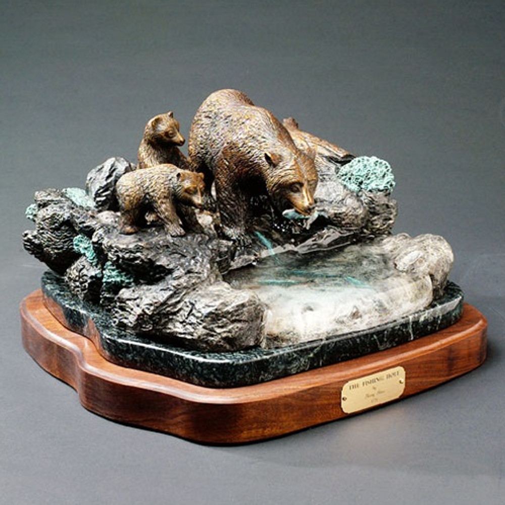 """Bear Bronze Sculpture """"The Fishing Hole""""   Barry Stein   BBSFIS1-TFH"""
