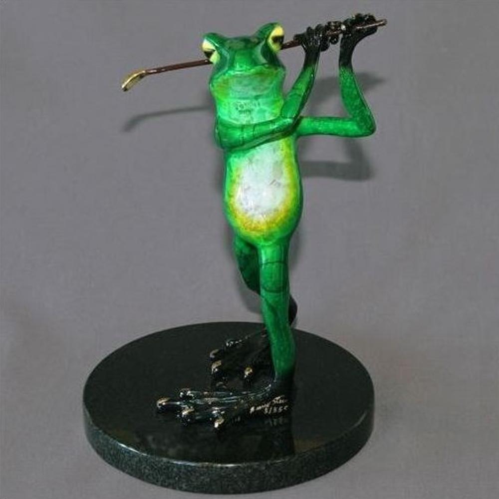 Frog Bronze Sculpture Golfer Frog | Barry Stein | BBSGOL1-CG