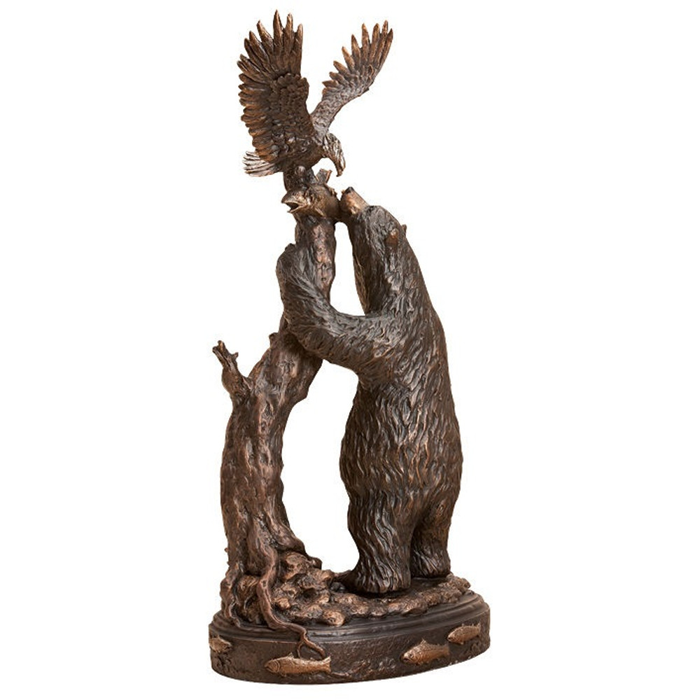 """Bear and Eagle Sculpture """"Who's Fish?"""" 