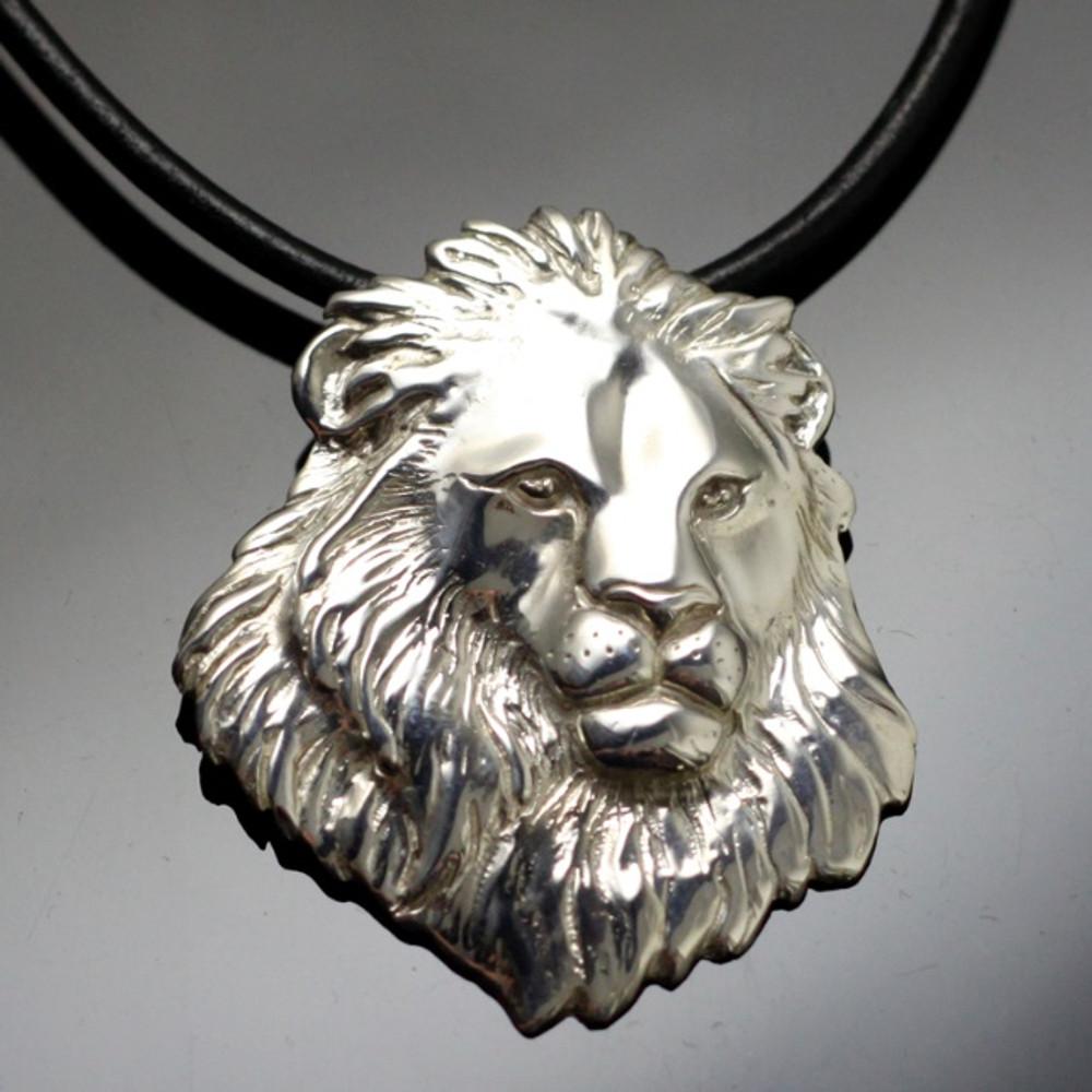 Lion Head Sterling Silver Pendant Necklace | Anisa Stewart Jewelry | ASJw1006