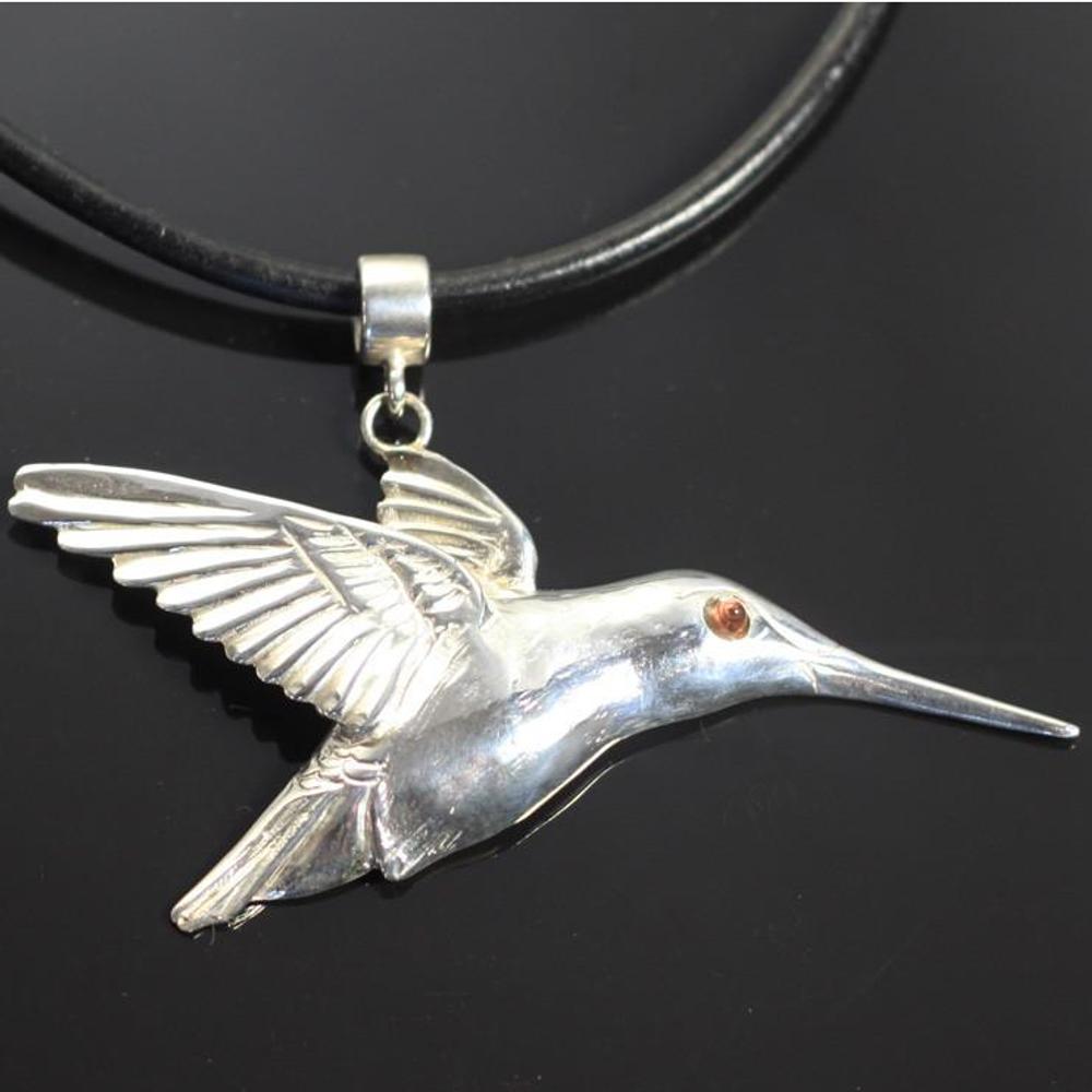 Hummingbird Sterling Silver Pendant Necklace | Anisa Stewart Jewelry | ASJw1008
