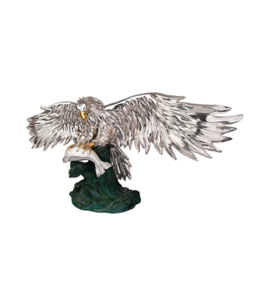 Silver Eagle with Fish Sculpture | 2519 | D'Argenta