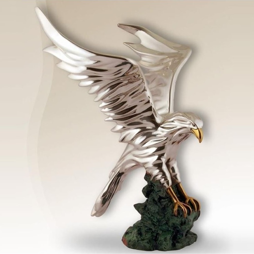 Silver Eagle in Flight Sculpture | 2522 | D'Argenta