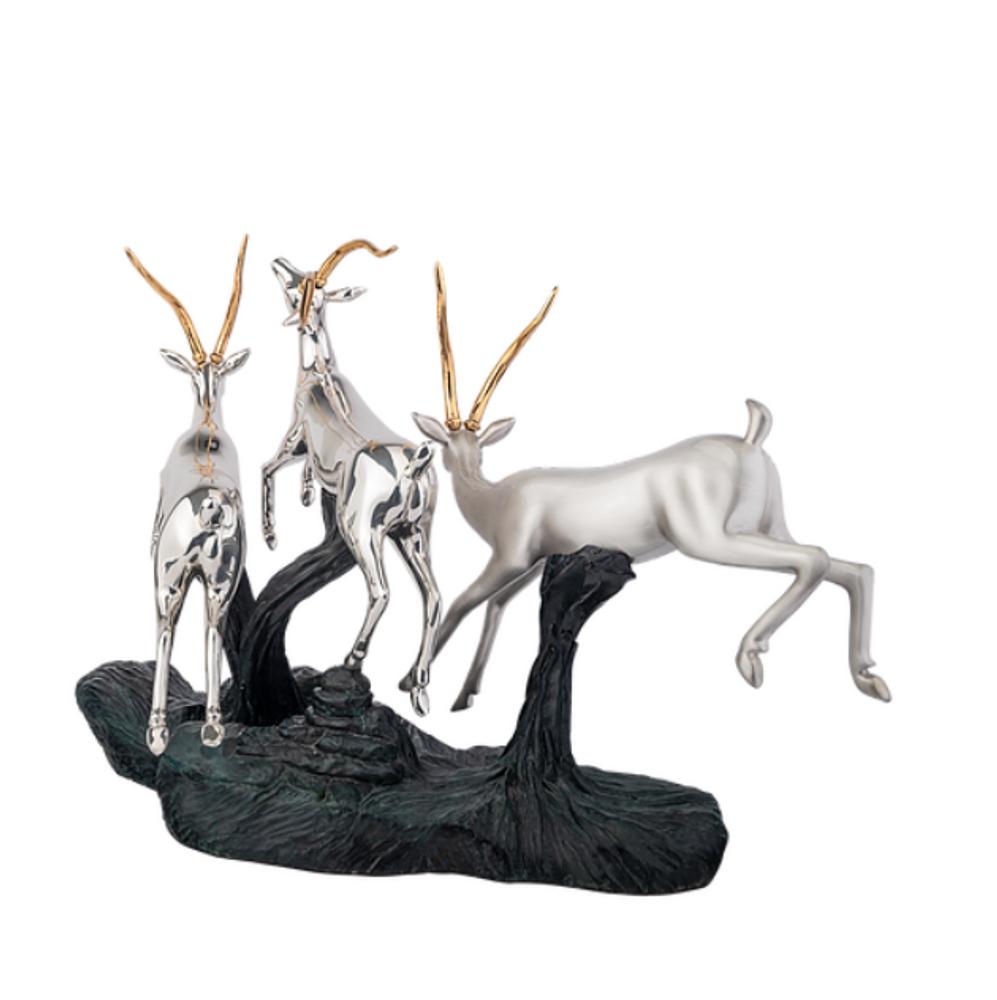 Gazelle Trio Silver Plated Sculpture | 6018