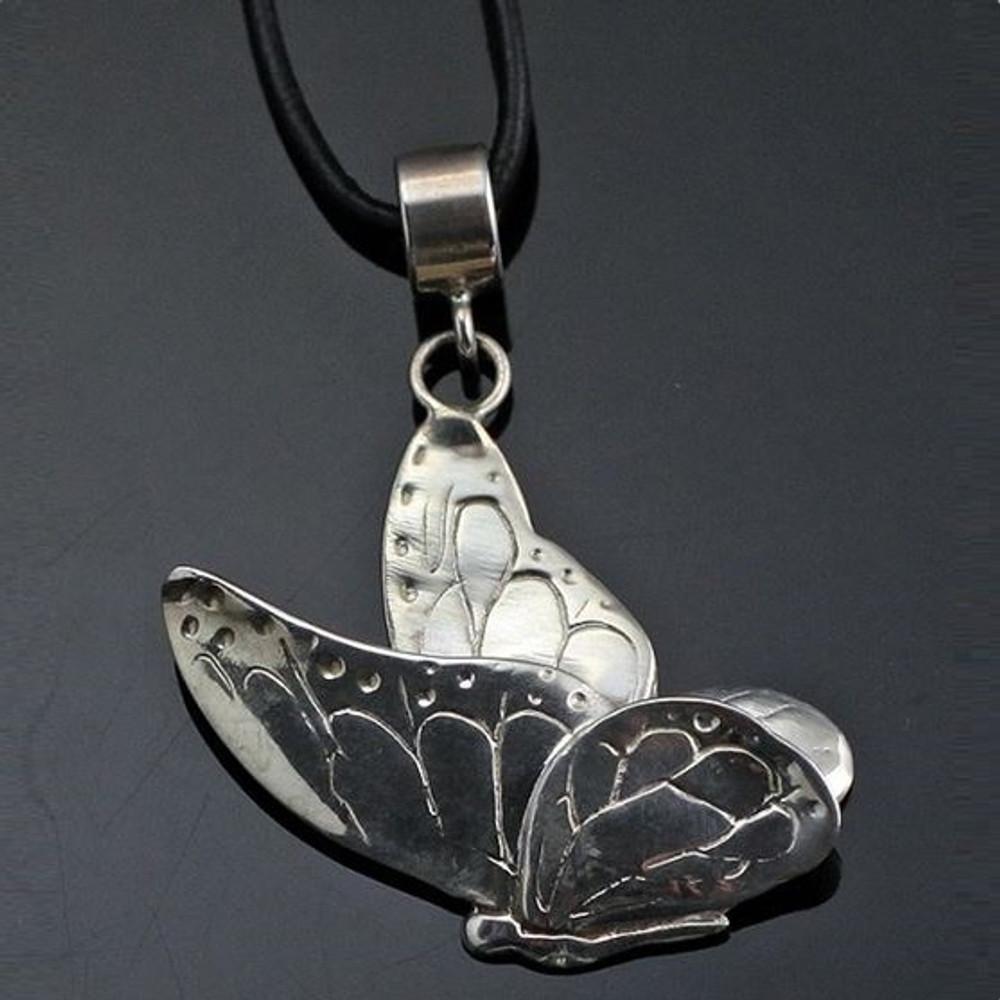 Small Butterfly Silver Pendant Necklace | Anisa Stewart Jewelry | ASJw1011