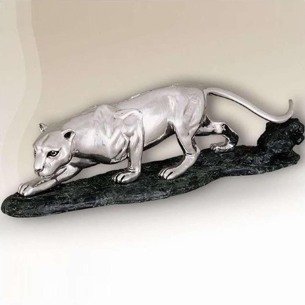 Silver Plated Large Panther Sculpture | 8010 | D'Argenta