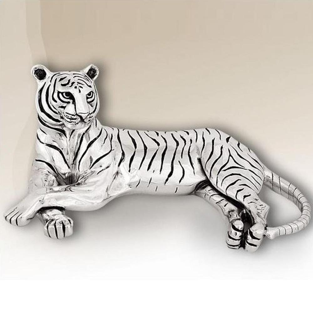 Silver Plated Reclining Tiger Sculpture | 8013 | D'Argenta