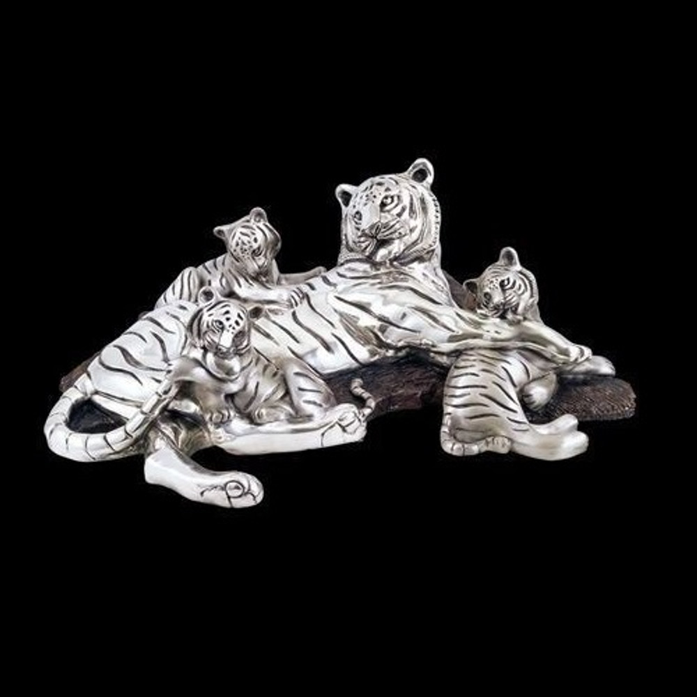 Silver Plated Tiger Mom-3 Cubs Sculpture | 8023 | D'Argenta