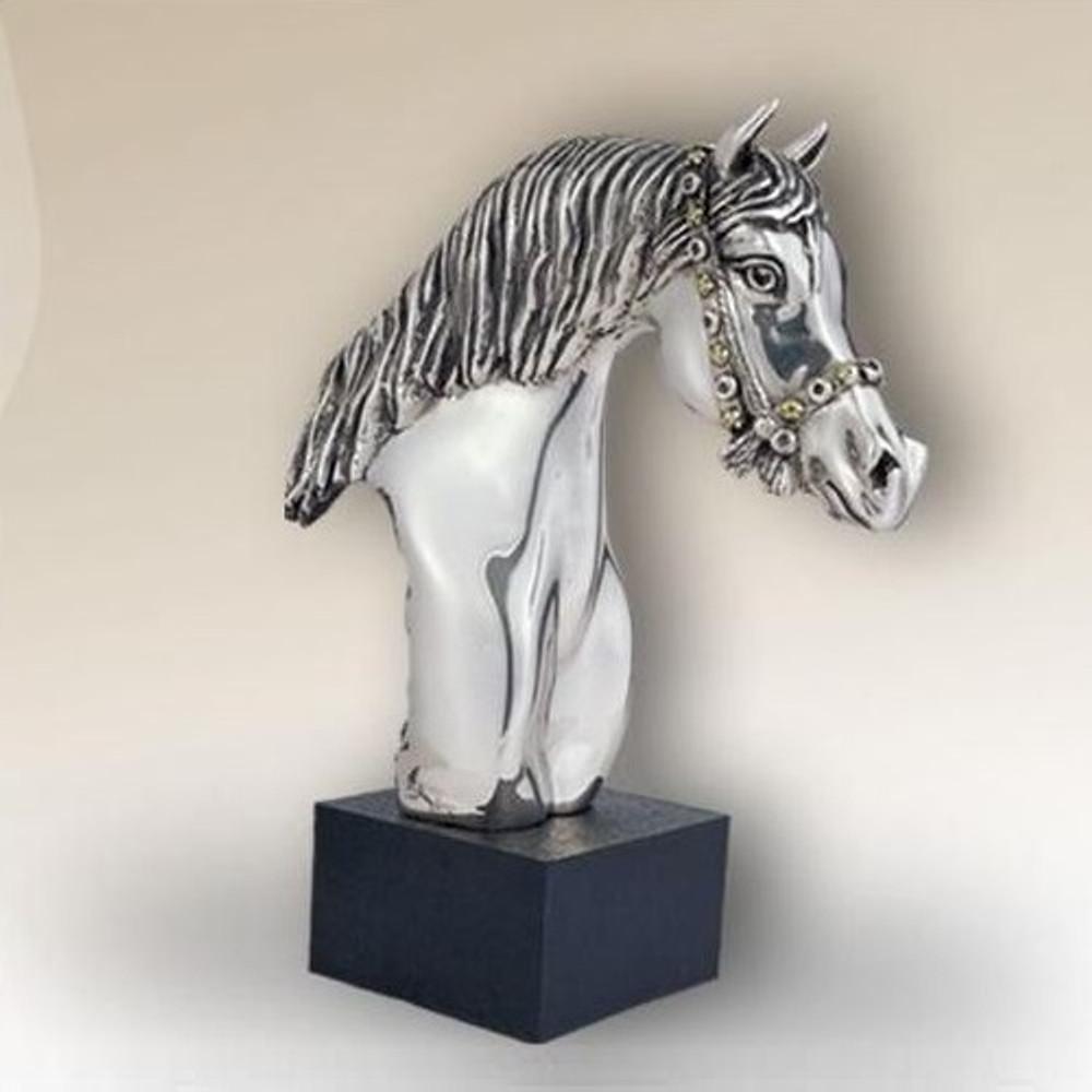 Horse Head Sculpture Silver Plated   8033   D'Argenta