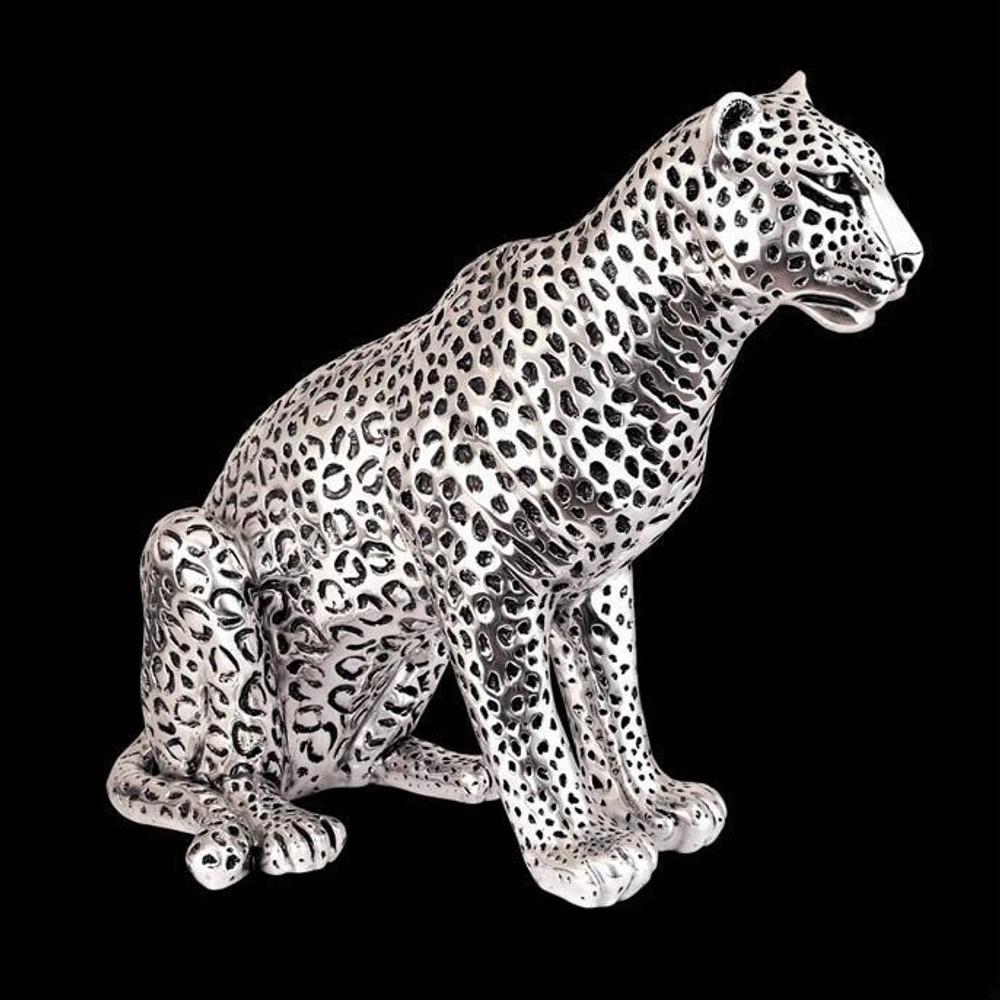 Leopard Sitting Silver Plated Sculpture   8034   D'Argenta