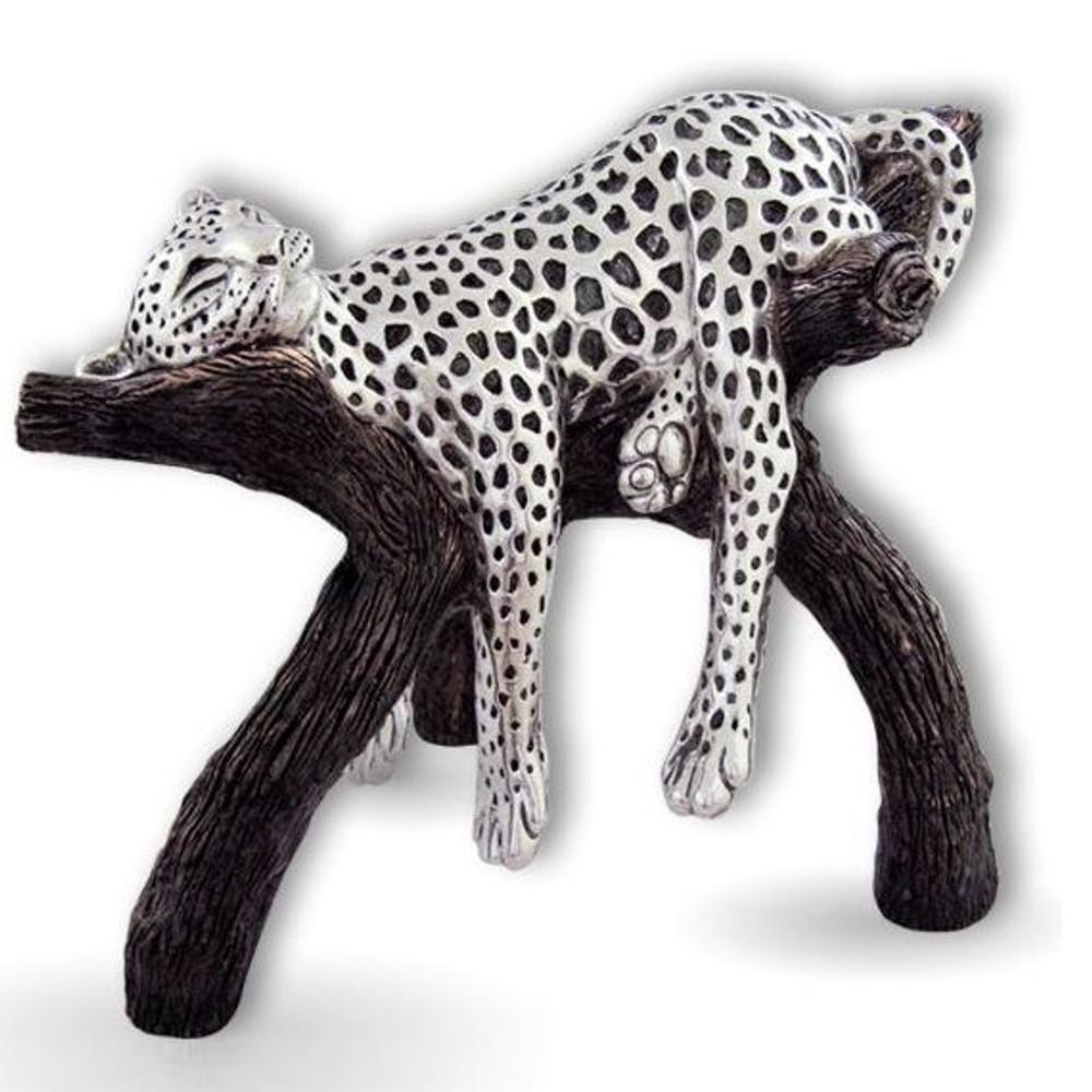 Silver Plated Leopard Sculpture   8041   D'Argenta