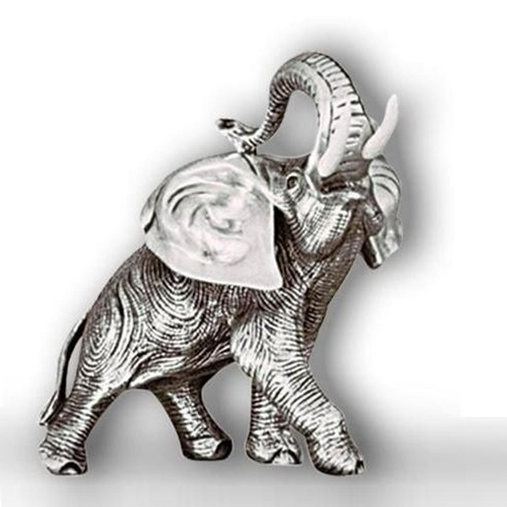 Silver Elephant Sculpture Head Up    A40   D'Argenta