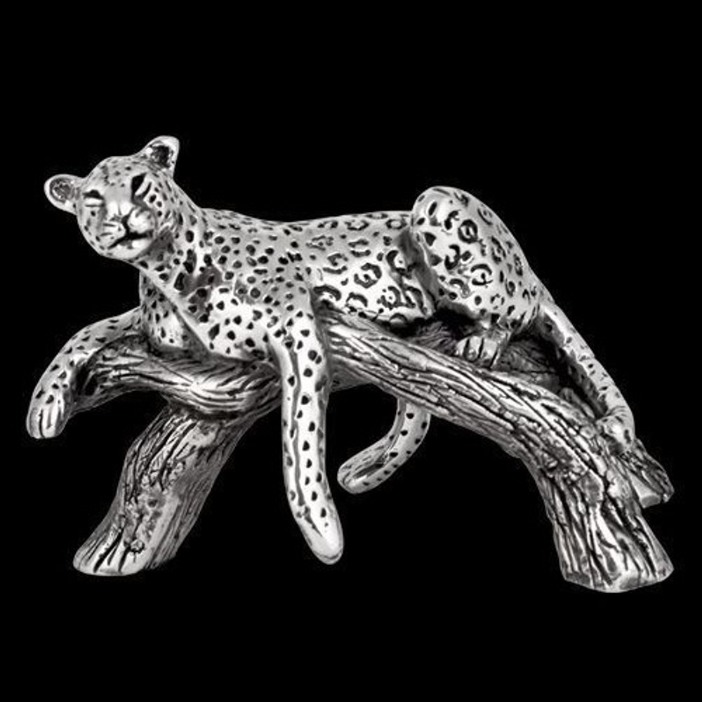 Silver Leopard Laying on Branch Sculpture   A508   D'Argenta