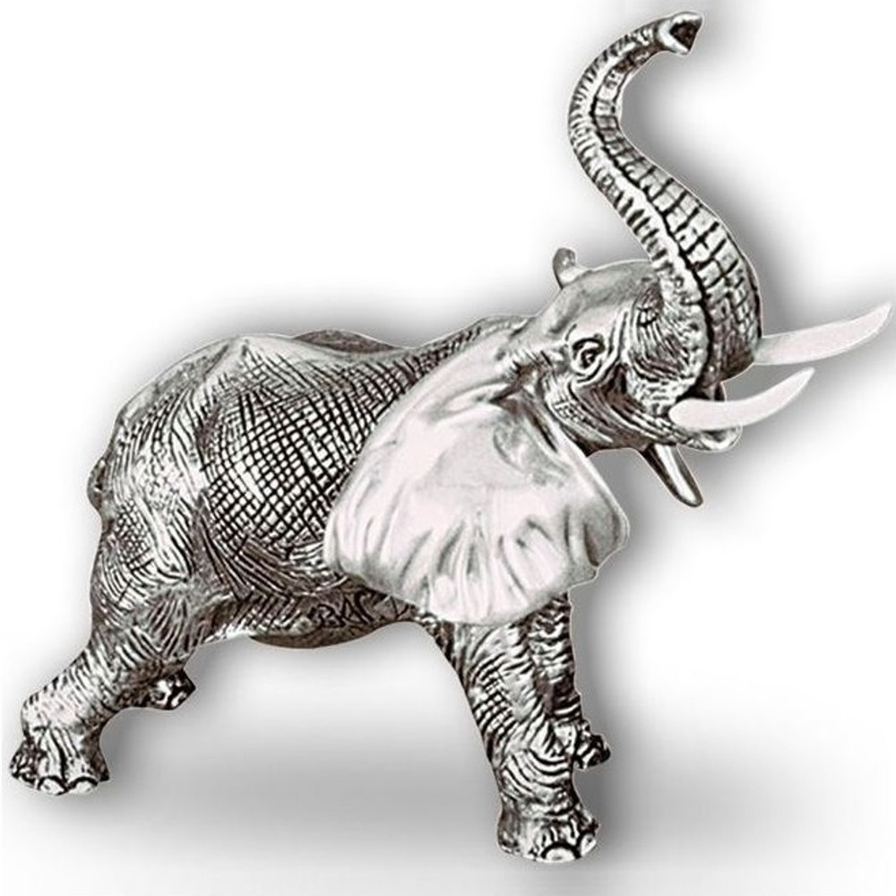 Silver Elephant Sculpture with Trunk Up    A54   D'Argenta