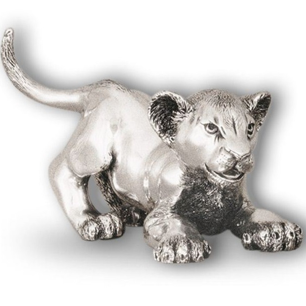 Silver Lion Cub Playing Sculpture | A58 | D'Argenta